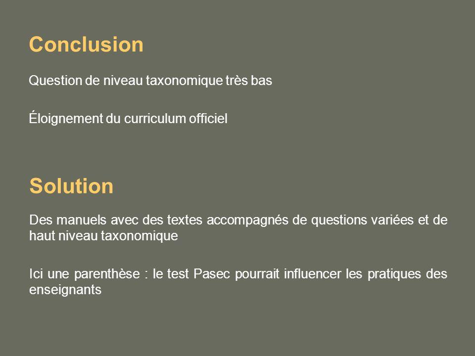 Conclusion Question de niveau taxonomique très bas Éloignement du curriculum officiel Solution Des manuels avec des textes accompagnés de questions variées et de haut niveau taxonomique Ici une parenthèse : le test Pasec pourrait influencer les pratiques des enseignants