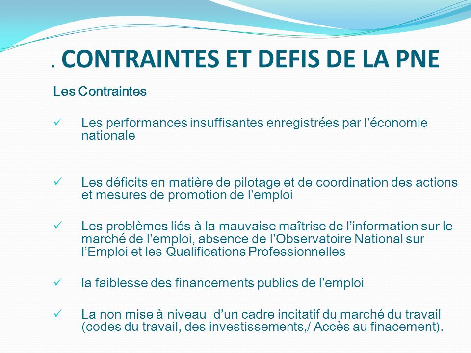 . CONTRAINTES ET DEFIS DE LA PNE Les Contraintes Les performances insuffisantes enregistrées par léconomie nationale Les déficits en matière de pilota