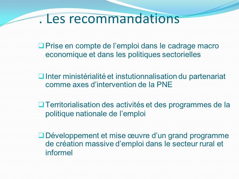 . Les recommandations Prise en compte de lemploi dans le cadrage macro economique et dans les politiques sectorielles Inter ministérialité et instutio