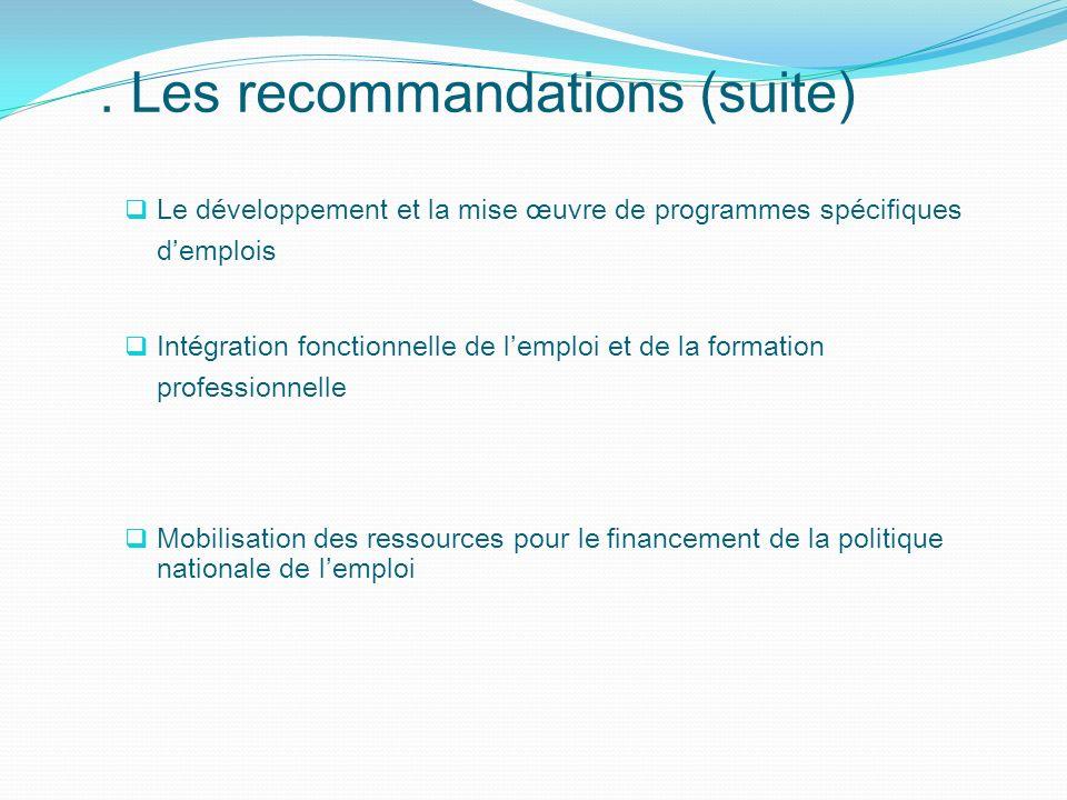 Le développement et la mise œuvre de programmes spécifiques demplois Intégration fonctionnelle de lemploi et de la formation professionnelle Mobilisat