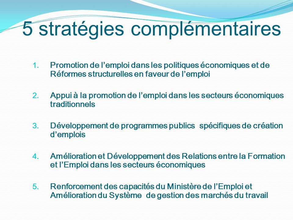 1. Promotion de lemploi dans les politiques économiques et de Réformes structurelles en faveur de lemploi 2. Appui à la promotion de lemploi dans les
