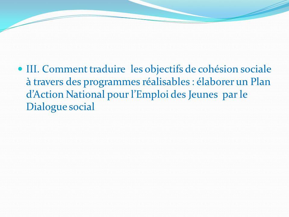 III. Comment traduire les objectifs de cohésion sociale à travers des programmes réalisables : élaborer un Plan dAction National pour lEmploi des Jeun