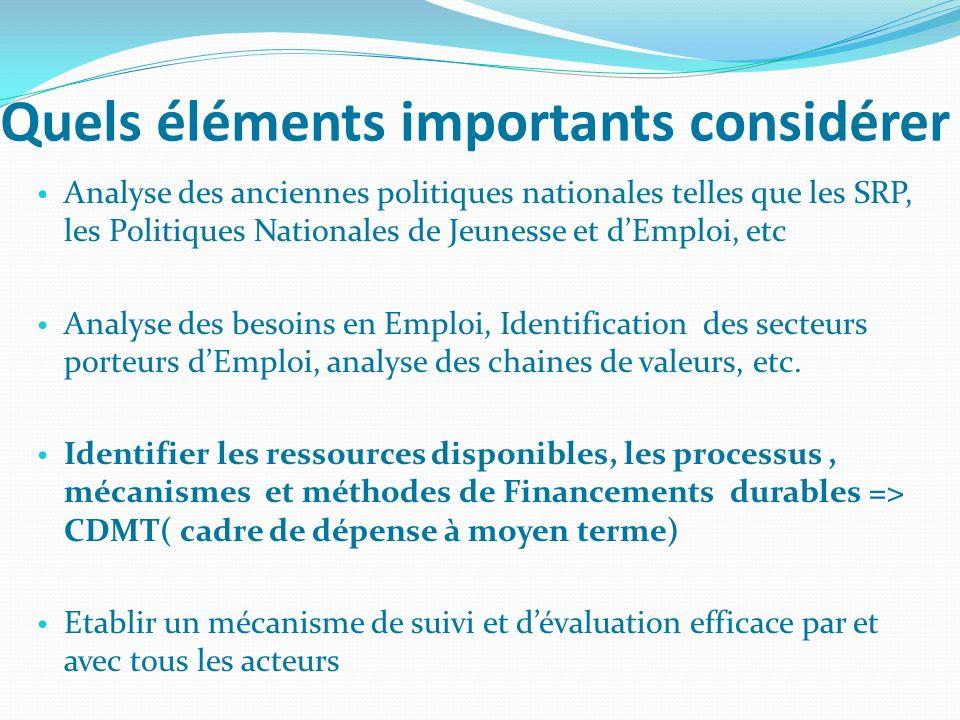 Quels éléments importants considérer Analyse des anciennes politiques nationales telles que les SRP, les Politiques Nationales de Jeunesse et dEmploi,
