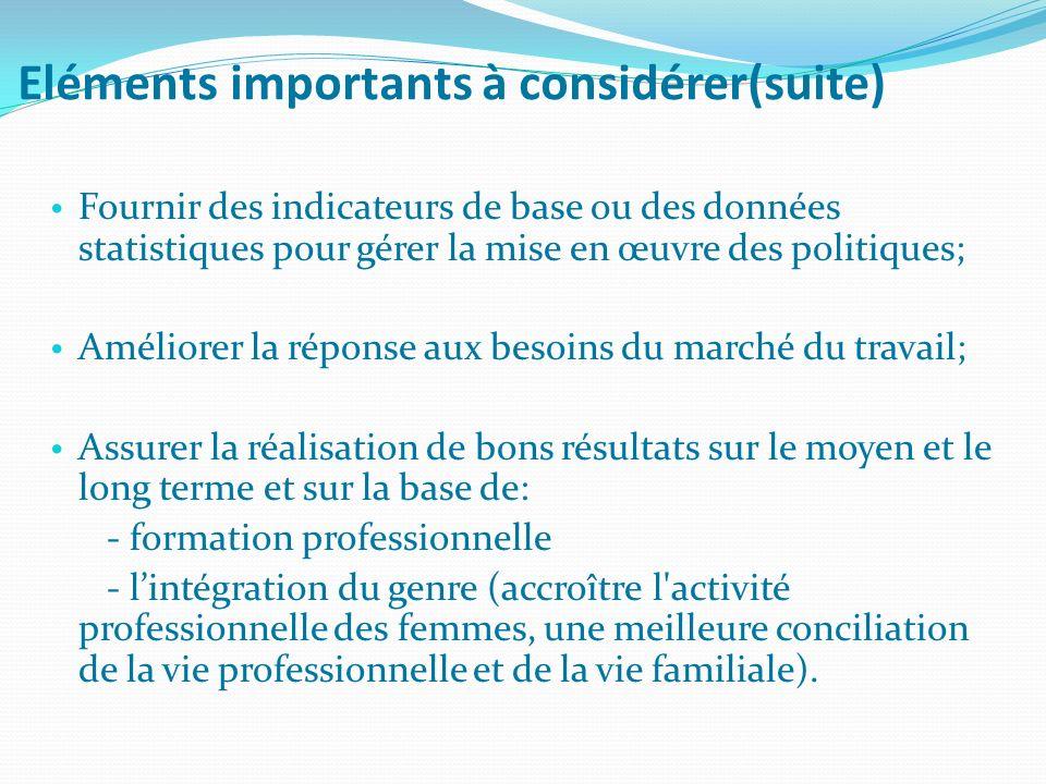 Eléments importants à considérer(suite) Fournir des indicateurs de base ou des données statistiques pour gérer la mise en œuvre des politiques; Amélio
