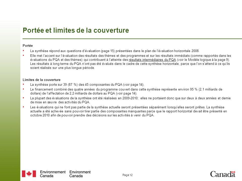 Page 12 Portée et limites de la couverture Portée La synthèse répond aux questions d évaluation (page 15) présentées dans le plan de l évaluation horizontale 2008.