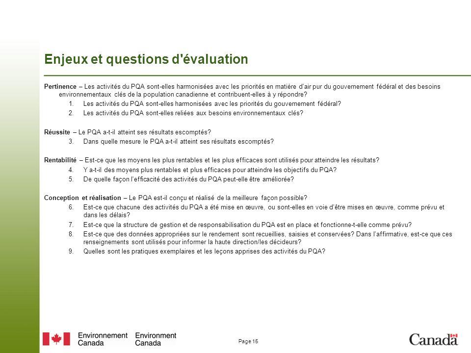Page 15 Enjeux et questions d évaluation Pertinence – Les activités du PQA sont-elles harmonisées avec les priorités en matière d air pur du gouvernement fédéral et des besoins environnementaux clés de la population canadienne et contribuent-elles à y répondre.