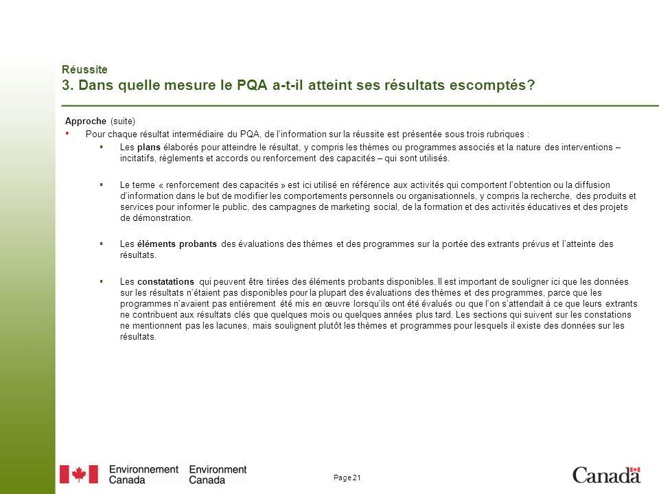 Page 21 Réussite 3.Dans quelle mesure le PQA a-t-il atteint ses résultats escomptés.