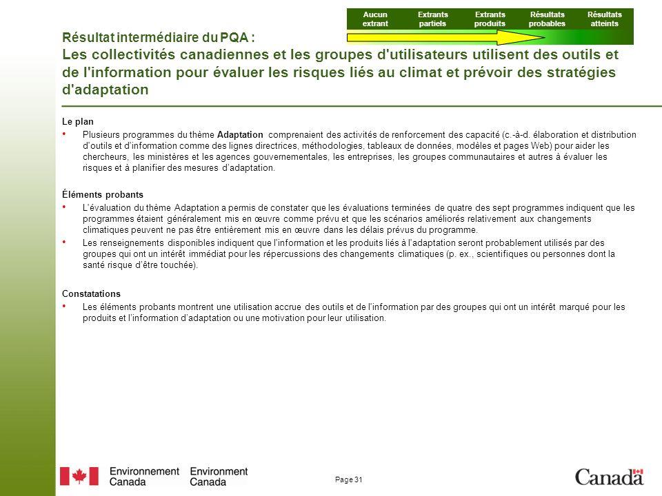 Page 31 Résultat intermédiaire du PQA : Les collectivités canadiennes et les groupes d utilisateurs utilisent des outils et de l information pour évaluer les risques liés au climat et prévoir des stratégies d adaptation Le plan Plusieurs programmes du thème Adaptation comprenaient des activités de renforcement des capacité (c.-à-d.