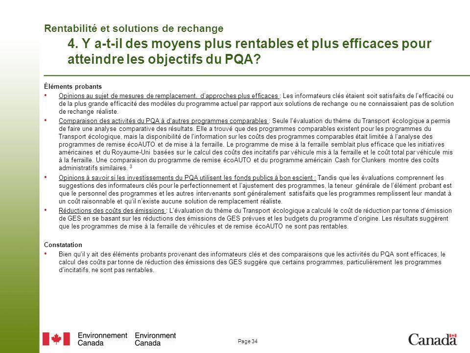 Page 34 Rentabilité et solutions de rechange 4.