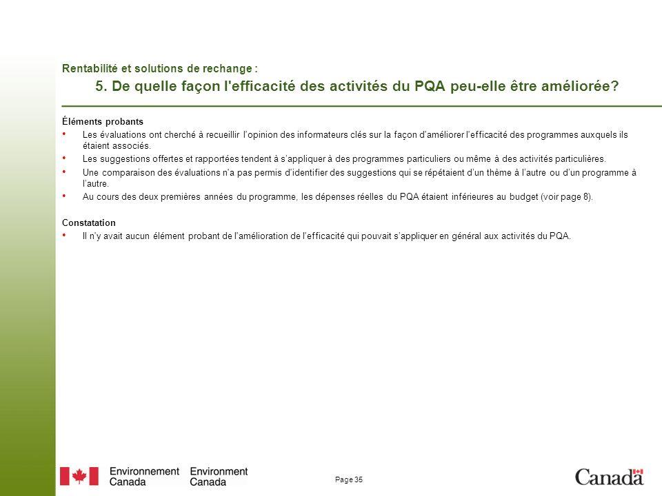 Page 35 Rentabilité et solutions de rechange : 5.