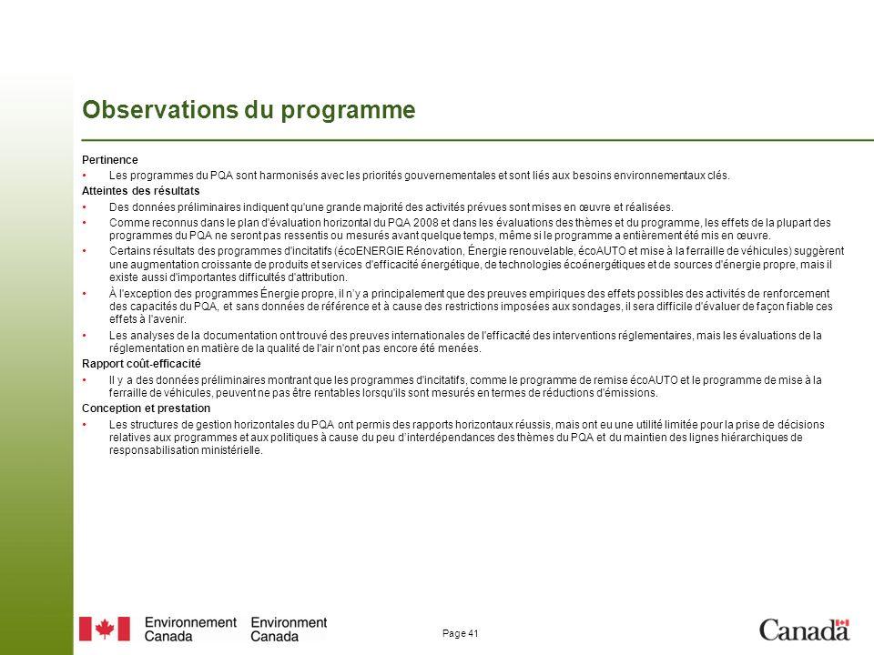 Page 41 Observations du programme Pertinence Les programmes du PQA sont harmonisés avec les priorités gouvernementales et sont liés aux besoins environnementaux clés.