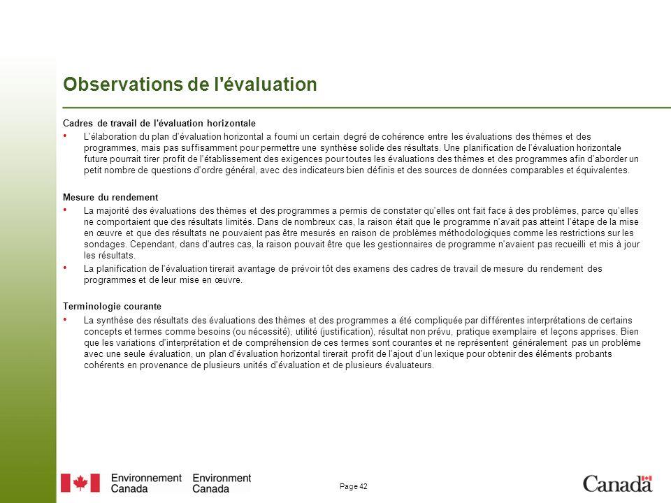 Page 42 Observations de l évaluation Cadres de travail de l évaluation horizontale L élaboration du plan d évaluation horizontal a fourni un certain degré de cohérence entre les évaluations des thèmes et des programmes, mais pas suffisamment pour permettre une synthèse solide des résultats.
