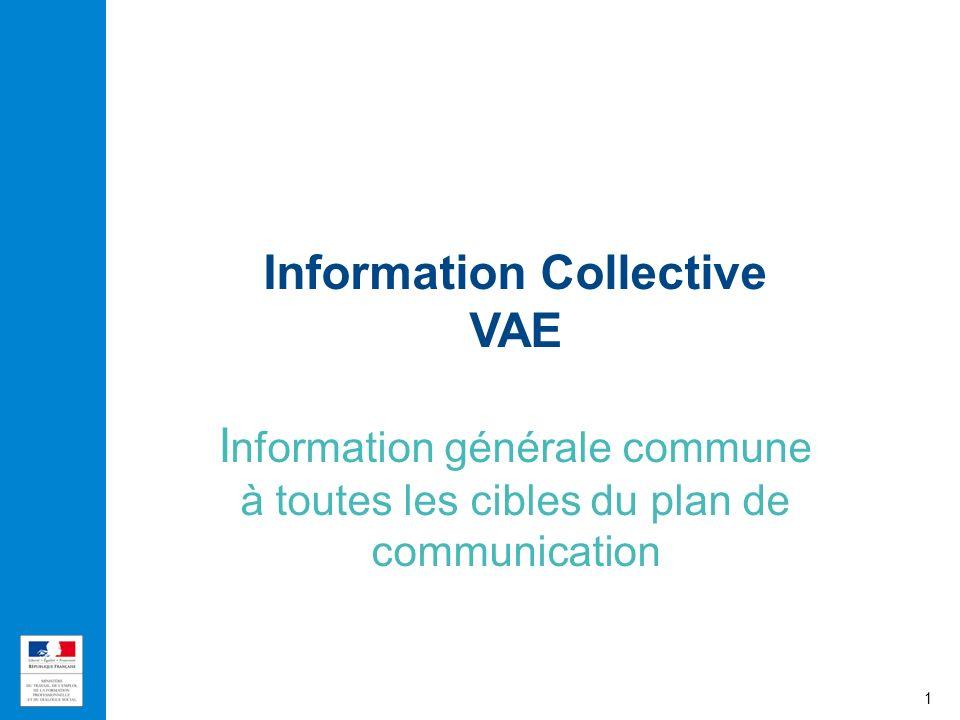 Information Collective VAE I nformation générale commune à toutes les cibles du plan de communication 1