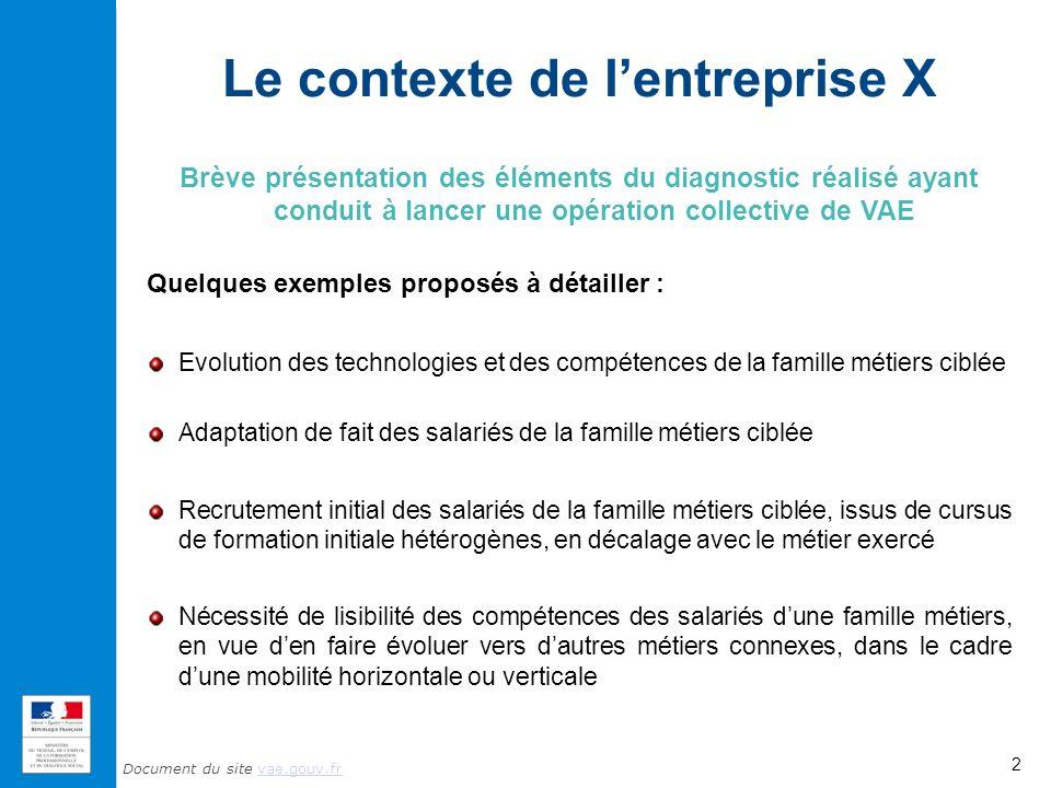 Document du site vae.gouv.frvae.gouv.fr Le contexte de lentreprise X Brève présentation des éléments du diagnostic réalisé ayant conduit à lancer une