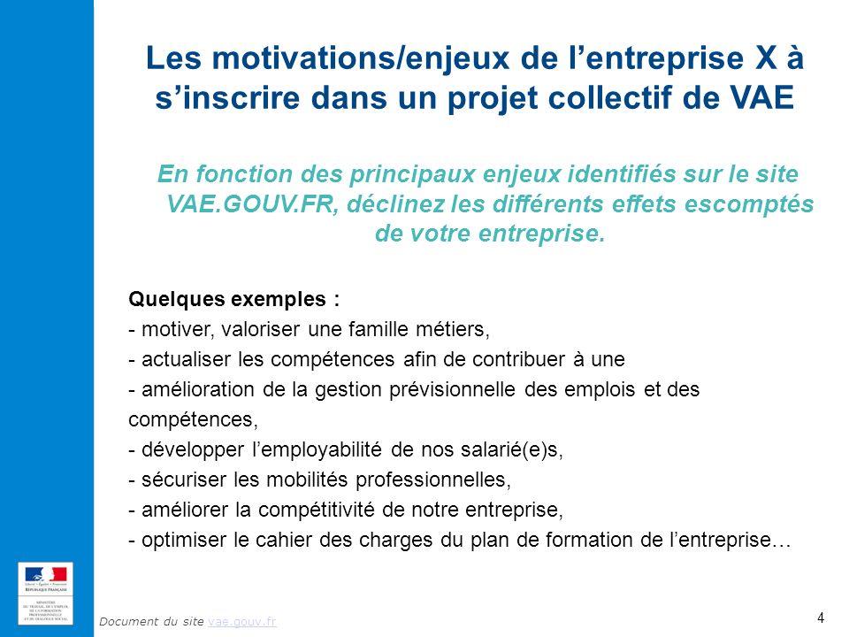 Document du site vae.gouv.frvae.gouv.fr Les motivations/enjeux de lentreprise X à sinscrire dans un projet collectif de VAE En fonction des principaux