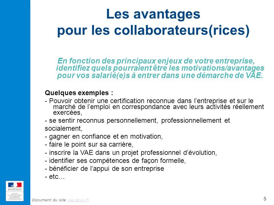 Document du site vae.gouv.frvae.gouv.fr Les avantages pour les collaborateurs(rices) En fonction des principaux enjeux de votre entreprise, identifiez