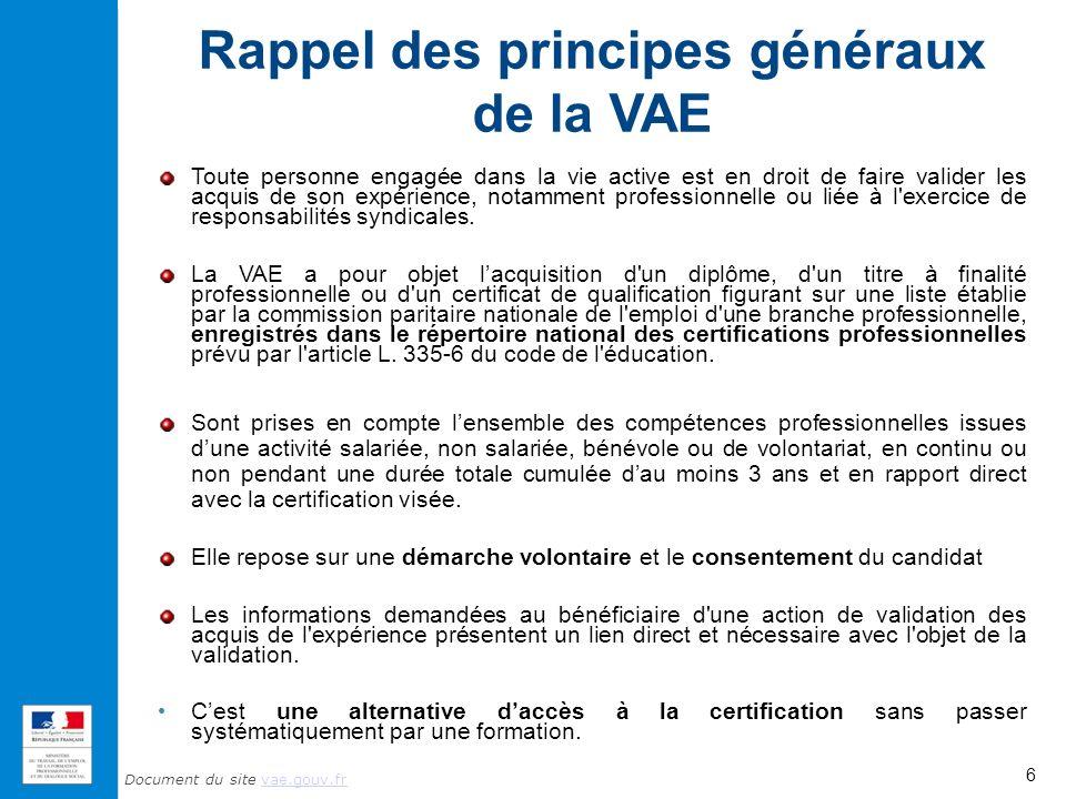 Document du site vae.gouv.frvae.gouv.fr Rappel des principes généraux de la VAE Toute personne engagée dans la vie active est en droit de faire valider les acquis de son expérience, notamment professionnelle ou liée à l exercice de responsabilités syndicales.