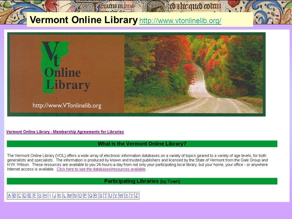 Vermont Online Library http://www.vtonlinelib.org/http://www.vtonlinelib.org/