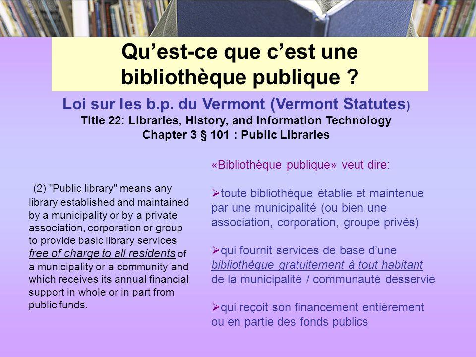Quest-ce que cest une bibliothèque publique . Loi sur les b.p.