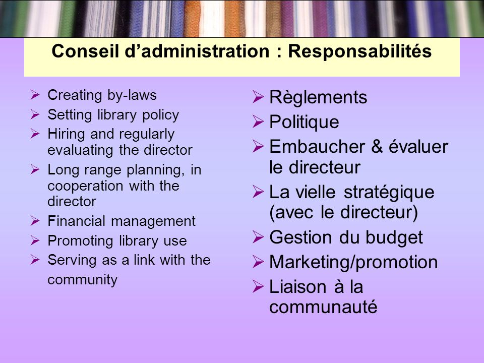 Conseil dadministration : Responsabilités Creating by-laws Setting library policy Hiring and regularly evaluating the director Long range planning, in cooperation with the director Financial management Promoting library use Serving as a link with the community Règlements Politique Embaucher & évaluer le directeur La vielle stratégique (avec le directeur) Gestion du budget Marketing/promotion Liaison à la communauté