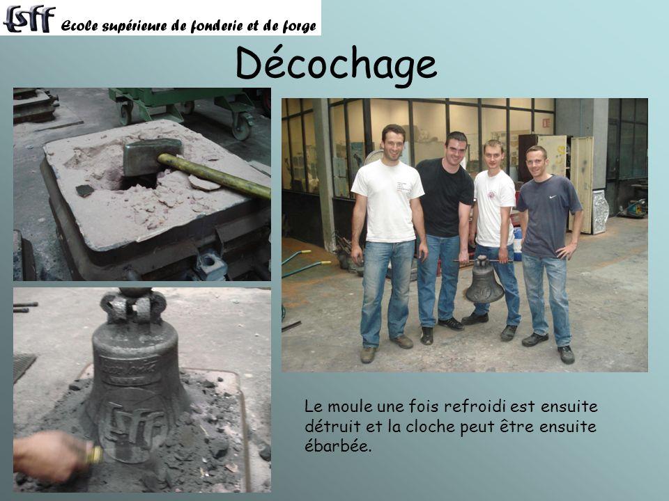 Décochage Le moule une fois refroidi est ensuite détruit et la cloche peut être ensuite ébarbée.