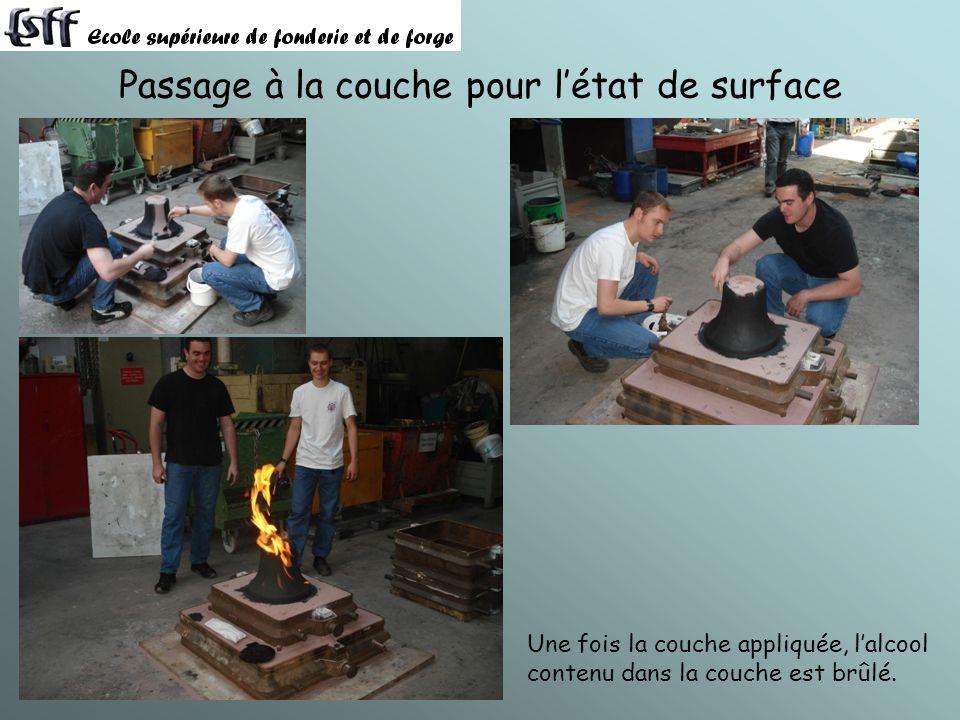 Passage à la couche pour létat de surface Une fois la couche appliquée, lalcool contenu dans la couche est brûlé.