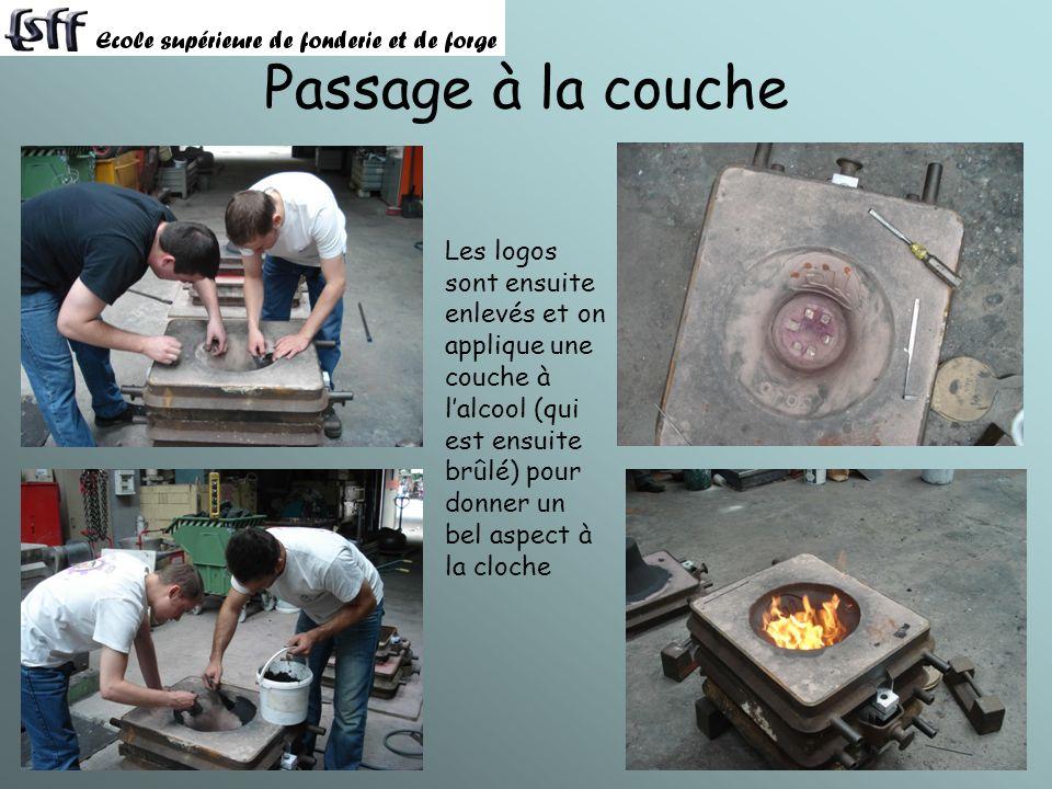 Passage à la couche Les logos sont ensuite enlevés et on applique une couche à lalcool (qui est ensuite brûlé) pour donner un bel aspect à la cloche