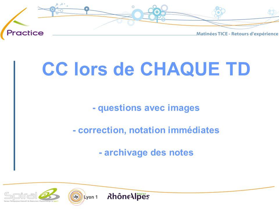 CC lors de CHAQUE TD - questions avec images - correction, notation immédiates - archivage des notes