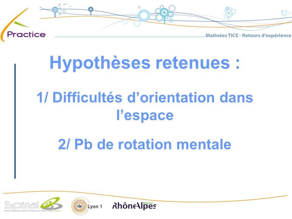 Hypothèses retenues : 1/ Difficultés dorientation dans lespace 2/ Pb de rotation mentale