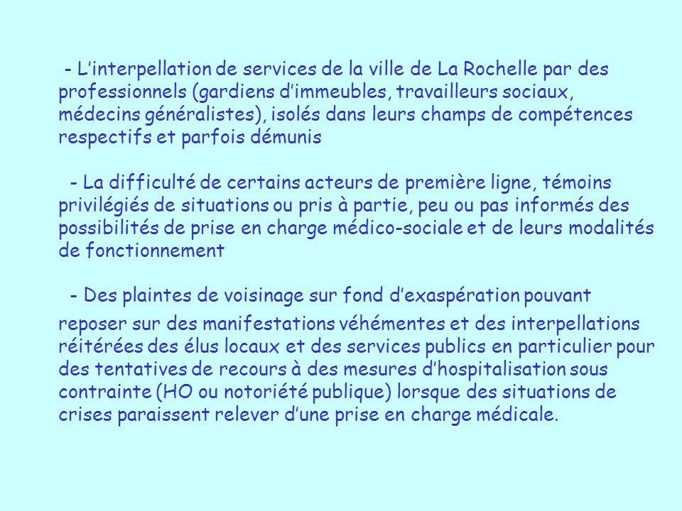 - Linterpellation de services de la ville de La Rochelle par des professionnels (gardiens dimmeubles, travailleurs sociaux, médecins généralistes), is