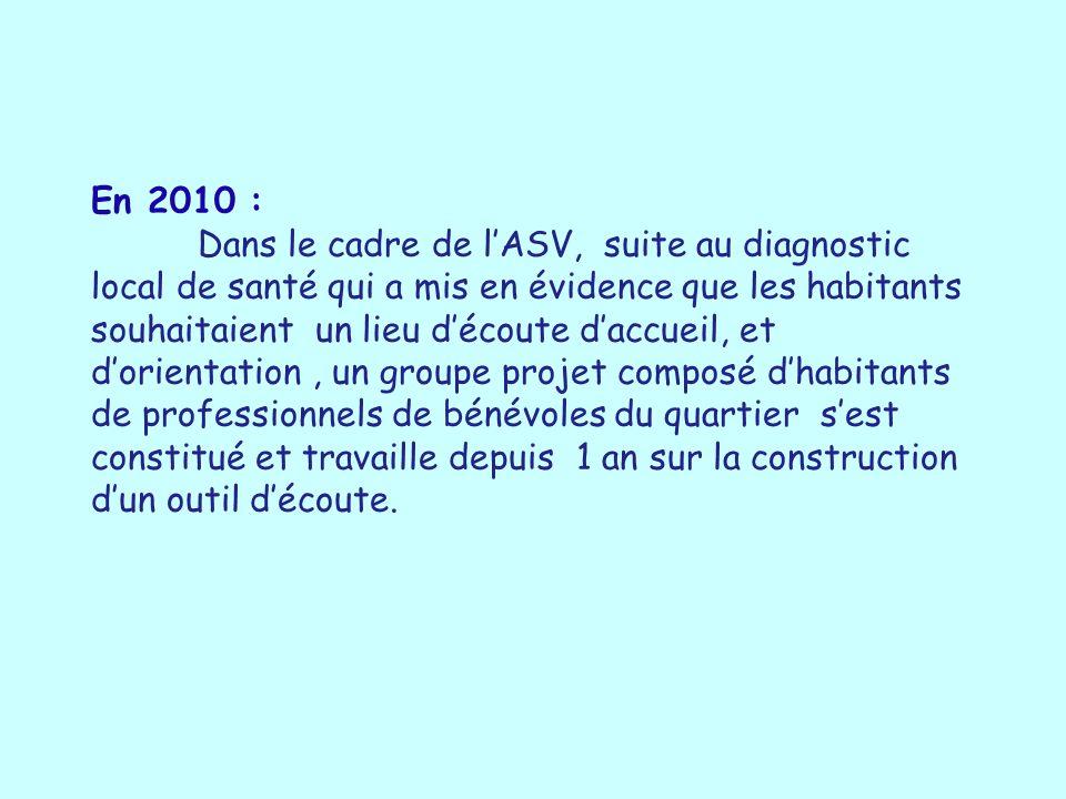 En 2010 : Dans le cadre de lASV, suite au diagnostic local de santé qui a mis en évidence que les habitants souhaitaient un lieu découte daccueil, et