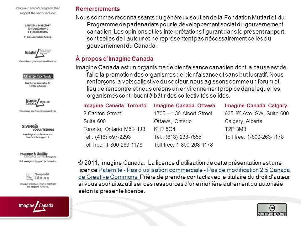Remerciements Nous sommes reconnaissants du généreux soutien de la Fondation Muttart et du Programme de partenariats pour le développement social du gouvernement canadien.