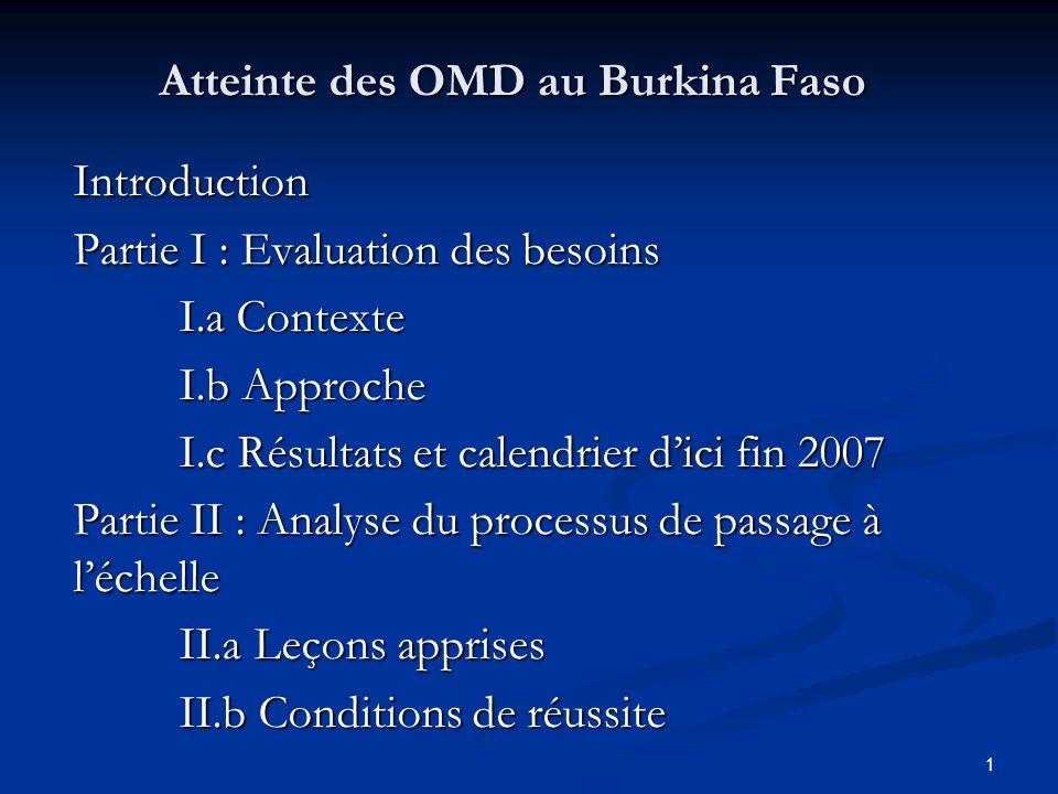 1 Atteinte des OMD au Burkina Faso Introduction Partie I : Evaluation des besoins I.a Contexte I.b Approche I.c Résultats et calendrier dici fin 2007