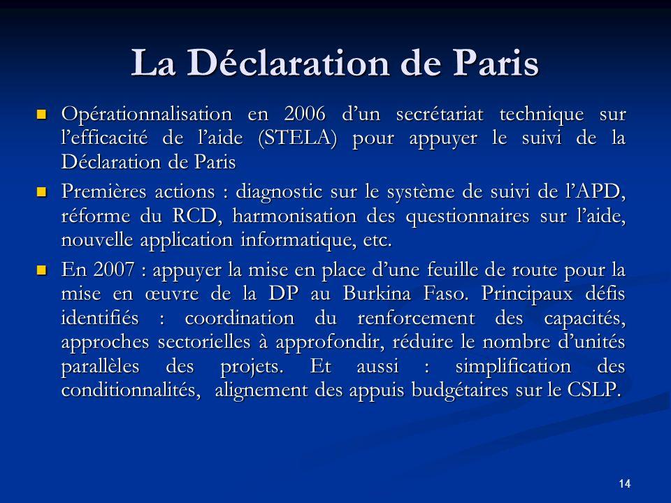 14 La Déclaration de Paris Opérationnalisation en 2006 dun secrétariat technique sur lefficacité de laide (STELA) pour appuyer le suivi de la Déclarat