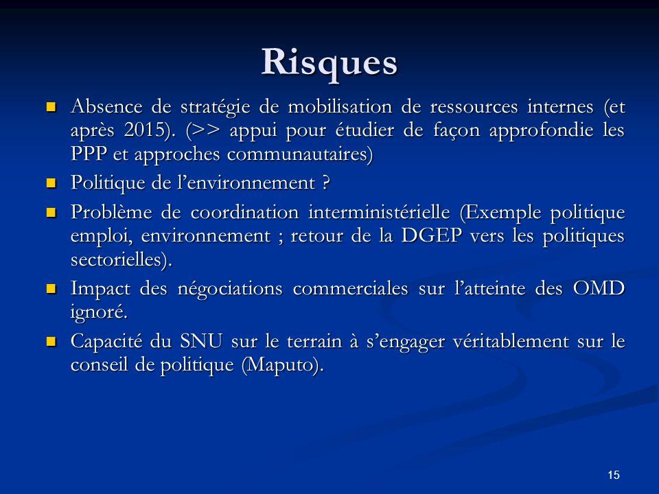 15 Risques Absence de stratégie de mobilisation de ressources internes (et après 2015). (>> appui pour étudier de façon approfondie les PPP et approch