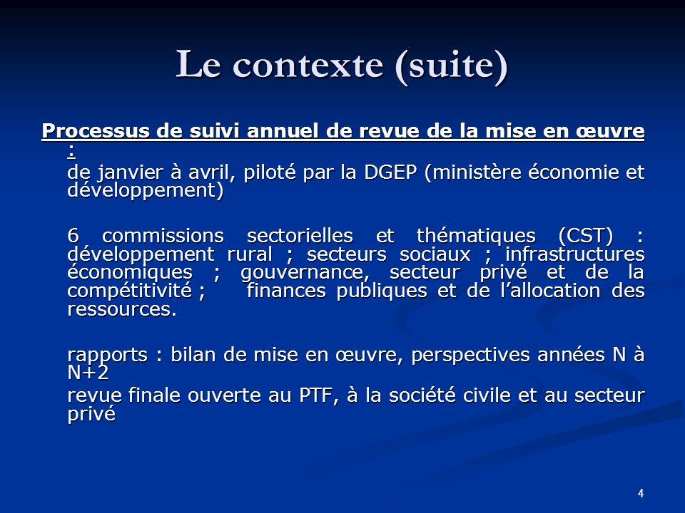4 Le contexte (suite) Processus de suivi annuel de revue de la mise en œuvre : de janvier à avril, piloté par la DGEP (ministère économie et développe