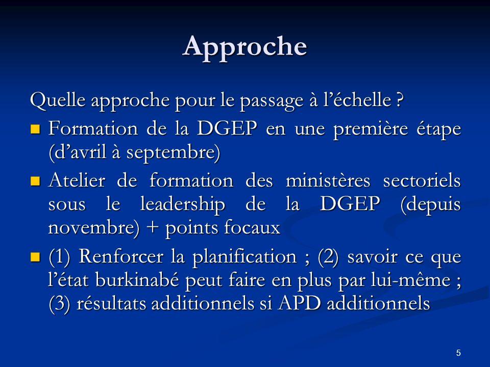 5 Approche Quelle approche pour le passage à léchelle ? Formation de la DGEP en une première étape (davril à septembre) Formation de la DGEP en une pr