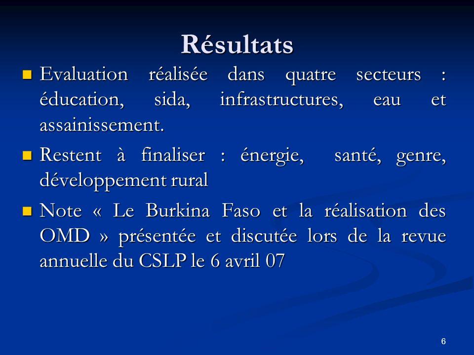 6 Résultats Evaluation réalisée dans quatre secteurs : éducation, sida, infrastructures, eau et assainissement. Evaluation réalisée dans quatre secteu