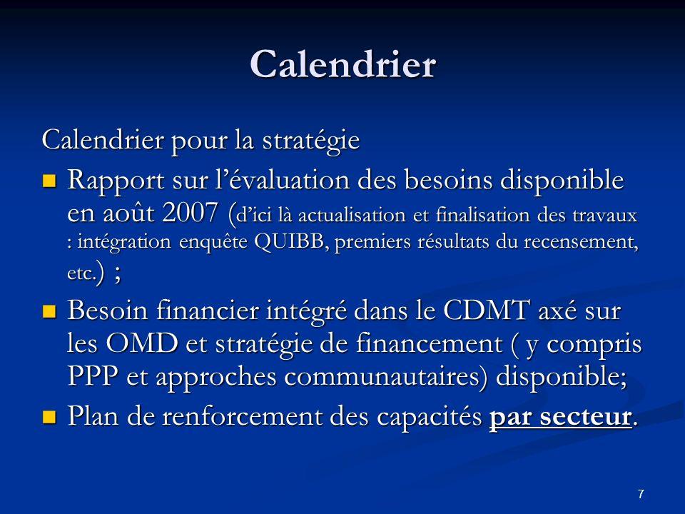 7 Calendrier Calendrier pour la stratégie Rapport sur lévaluation des besoins disponible en août 2007 ( dici là actualisation et finalisation des trav