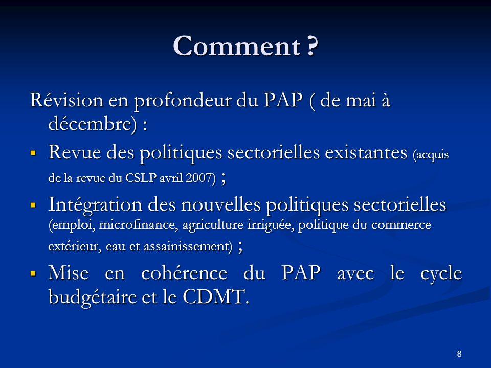 8 Comment ? Révision en profondeur du PAP ( de mai à décembre) : Revue des politiques sectorielles existantes (acquis de la revue du CSLP avril 2007)