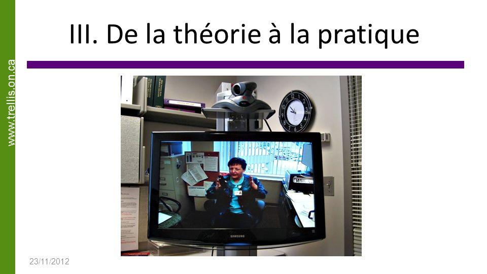 www.trellis.on.ca III. De la théorie à la pratique 23/11/2012