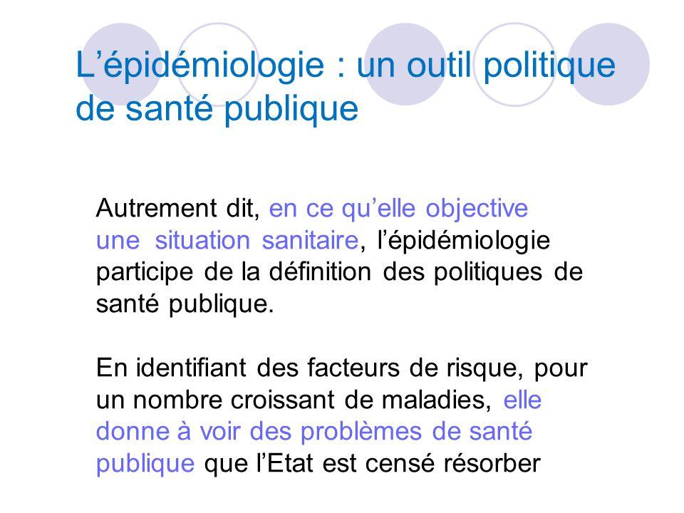 Lépidémiologie : un outil politique de santé publique Autrement dit, en ce quelle objective une situation sanitaire, lépidémiologie participe de la définition des politiques de santé publique.