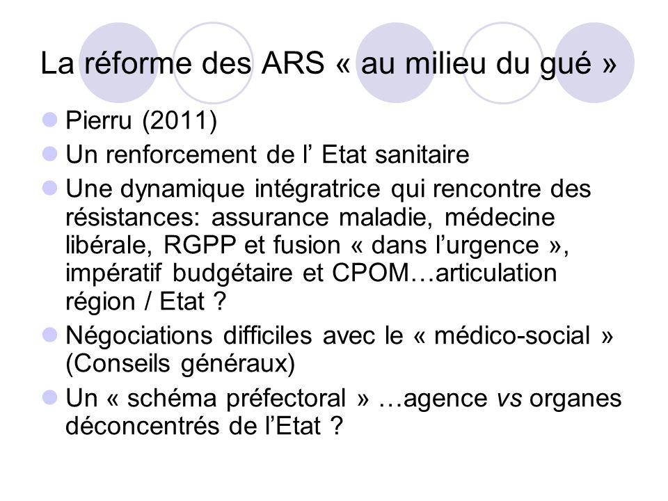 La réforme des ARS « au milieu du gué » Pierru (2011) Un renforcement de l Etat sanitaire Une dynamique intégratrice qui rencontre des résistances: assurance maladie, médecine libérale, RGPP et fusion « dans lurgence », impératif budgétaire et CPOM…articulation région / Etat .