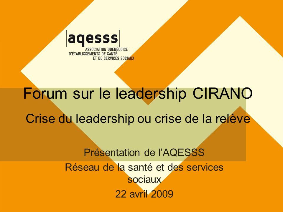 Forum sur le leadership CIRANO Crise du leadership ou crise de la relève Présentation de lAQESSS Réseau de la santé et des services sociaux 22 avril 2009