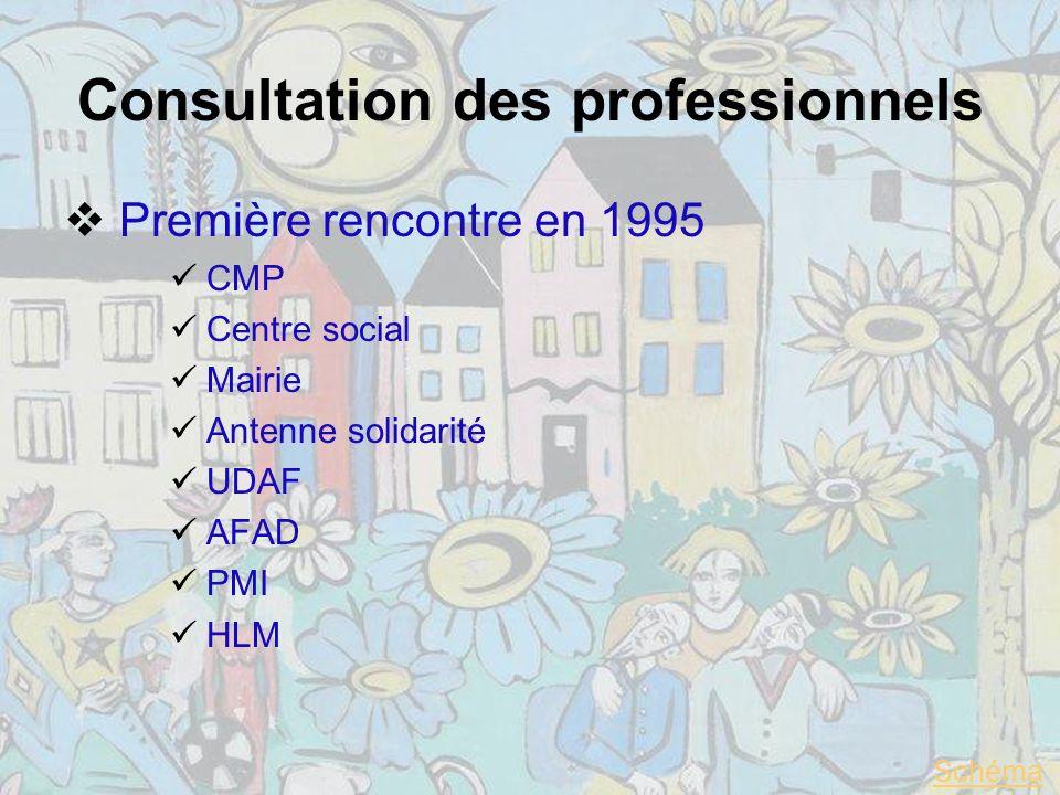 Consultation des professionnels Première rencontre en 1995 CMP Centre social Mairie Antenne solidarité UDAF AFAD PMI HLM Schéma