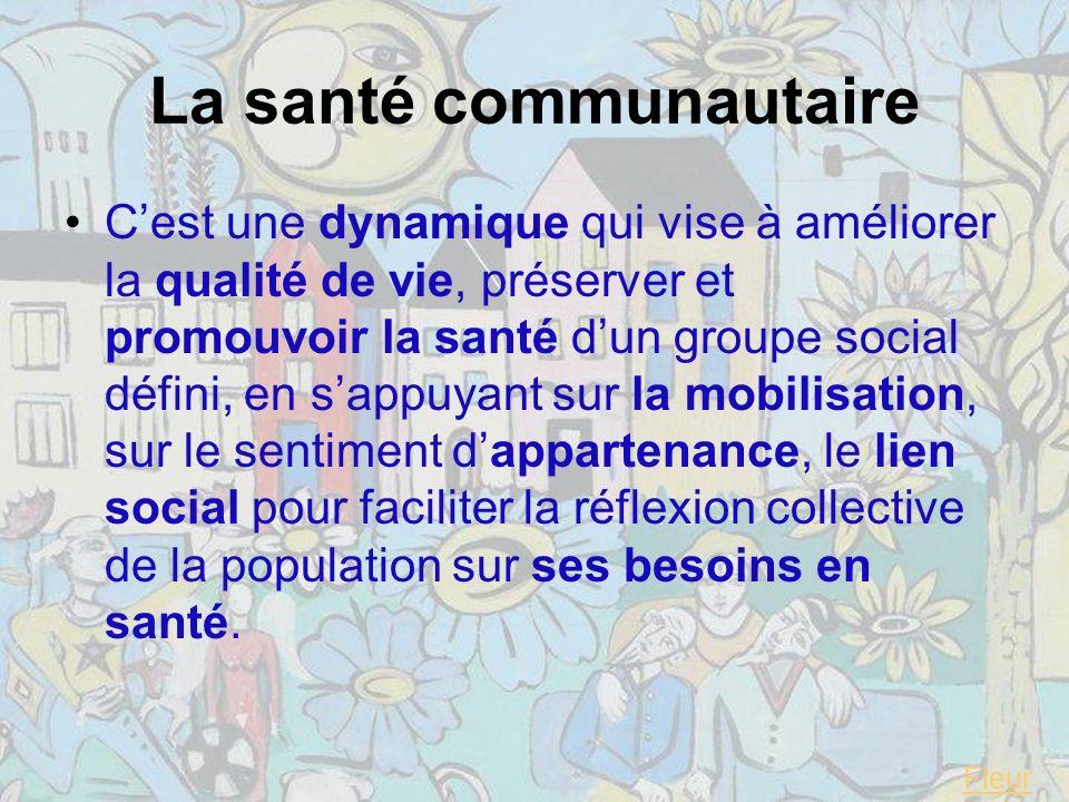La santé communautaire Cest une dynamique qui vise à améliorer la qualité de vie, préserver et promouvoir la santé dun groupe social défini, en sappuyant sur la mobilisation, sur le sentiment dappartenance, le lien social pour faciliter la réflexion collective de la population sur ses besoins en santé.