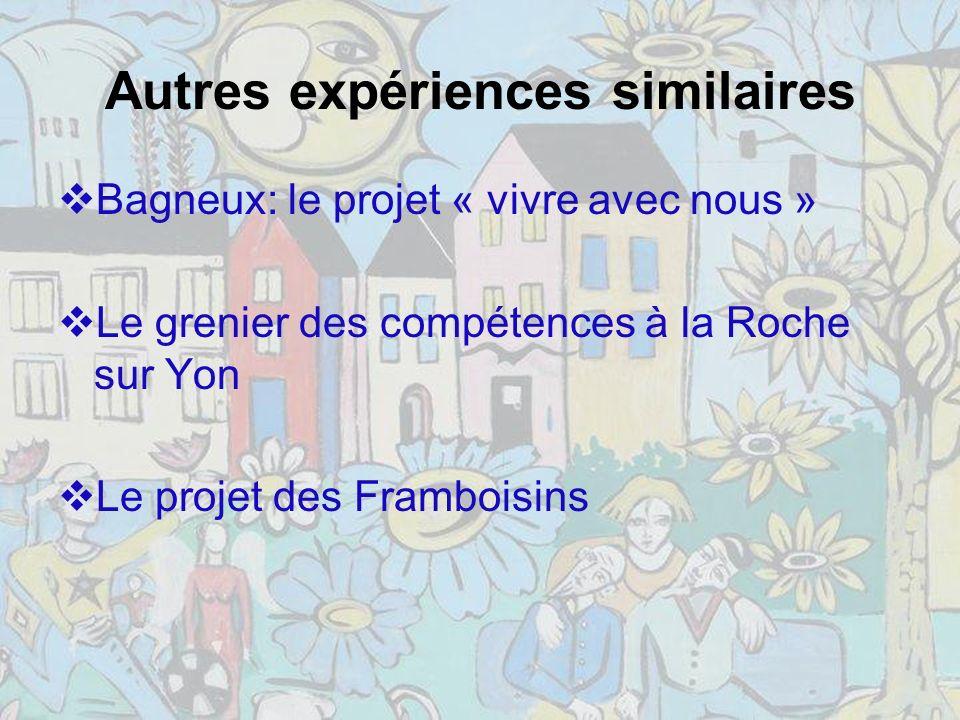 Autres expériences similaires Bagneux: le projet « vivre avec nous » Le grenier des compétences à la Roche sur Yon Le projet des Framboisins