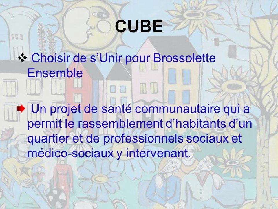 CUBE Choisir de sUnir pour Brossolette Ensemble Un projet de santé communautaire qui a permit le rassemblement dhabitants dun quartier et de professionnels sociaux et médico-sociaux y intervenant.