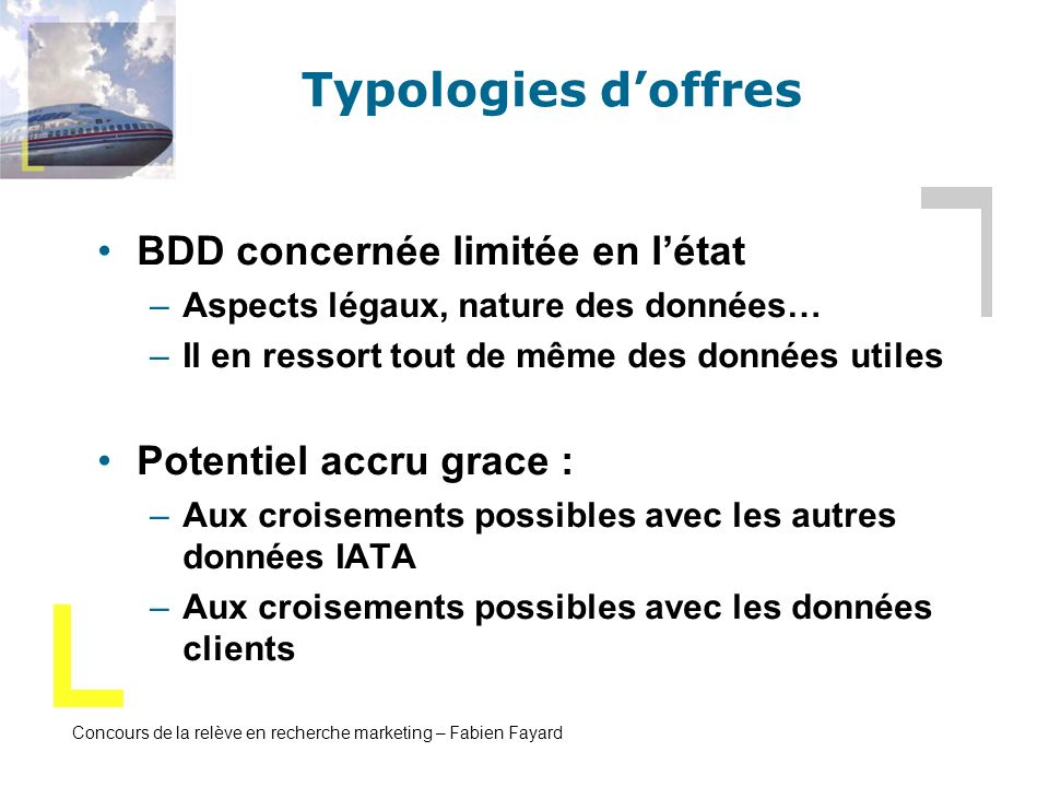 Concours de la relève en recherche marketing – Fabien Fayard Typologies doffres BDD concernée limitée en létat –Aspects légaux, nature des données… –I