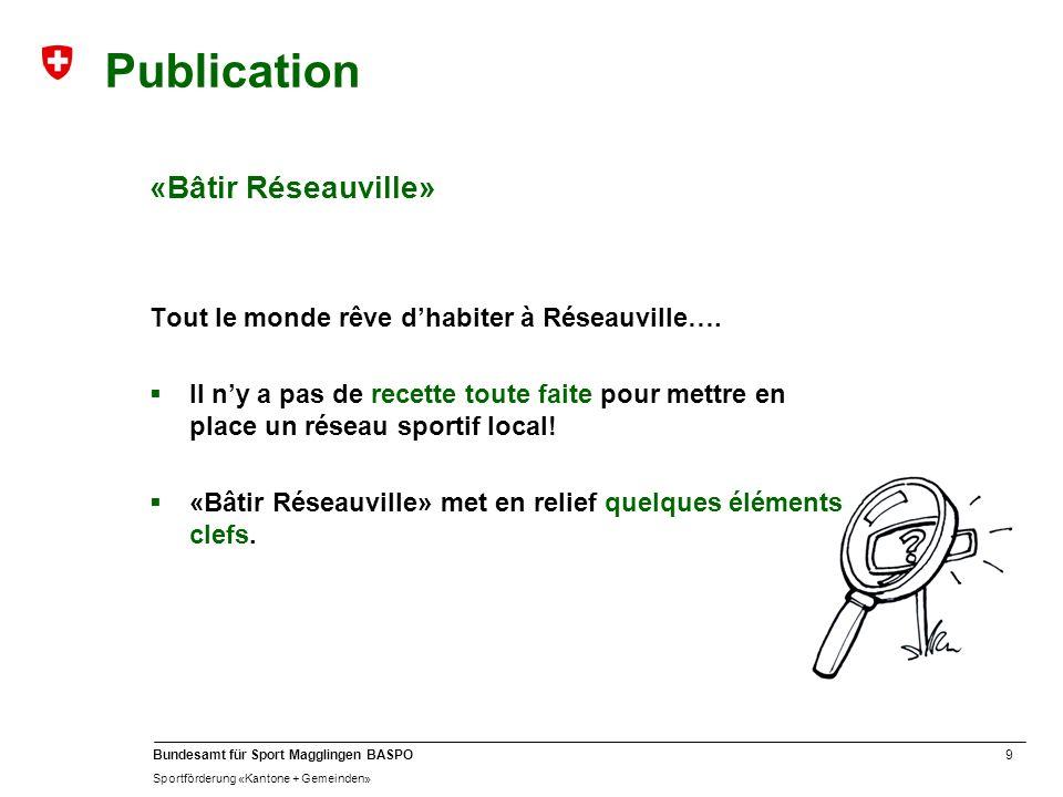 9 Bundesamt für Sport Magglingen BASPO Sportförderung «Kantone + Gemeinden» Publication «Bâtir Réseauville» Tout le monde rêve dhabiter à Réseauville…
